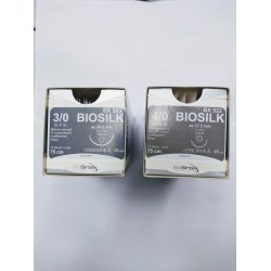 Игла с конец - черна коприна - BIOSILK - 3/0 , 4/0